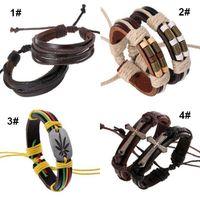 Wholesale China Wholesale Jewerly - Hot Sale Men Leather Wrap Bracelet Fashion Handmade Alloy Charms Bracelets Wristbands Bangles Jewerly Wholesale Free Shipping 0382WH