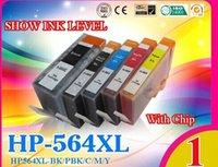 Wholesale Hp Photosmart Cartridges - 5 ink cartridge with chip compatible for HP 564   564XL photosmart B8558 B8553 C5300 D7560 C6300 C6340 C6350 C6380 C6383 D5460