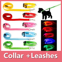 Wholesale Red Hair Products - Led Pet Dog Puppy Cat Kitten Soft Glossy Reflective Collar Leash Safety Buckle Pet Supplies Products Colorful