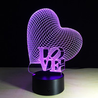 Wholesale Mouse Love - 2017 Love Heart 3D Optical Illusion Lamp Night Light DC 5V USB Charging AA Battery Wholesale Dropshipping Free Shipping