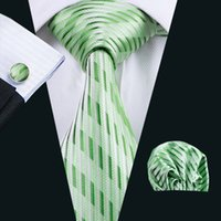 Wholesale Stylish Ties For Men - Men's green tie cufflinks hanky classic formal stylish wedding necktie Jacquard Woven new arrival tie for men N-0234