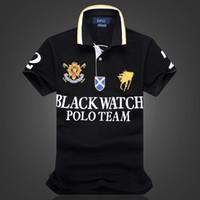 Wholesale Dropship Discount - discount Polo Shirt 100% Cotton Short Sleeve men Polos Sport S M L XL 2XL BLACK WATCH POLO TEAM Dropship