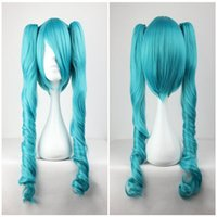 Wholesale Miku Wigs - Fashion Master Blue Mixed Vocaloid Miku 65cm Long Wavy Braided Synthetic Girl's Hair Blue Cosplay Wig