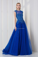 Wholesale Embellished Jackets - blue tulle evening dresses 2018 formal dresses ready to wear embellished with patchwork pearls and 3D laser-cut flowers assembled