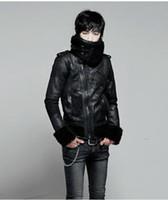 Wholesale Male Leather Wool Clothing - motorcycle leather clothing jacket male fur collar men's clothing plus velvet vintage short jacket slim singer costumes