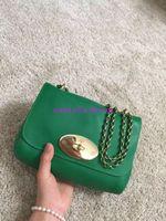Wholesale Promotional Coffee - Hot High-grade leather handbag Brand Fashion Woman Bag Promotional Ladies Lily Leather Handbag Pure color chain Crossbody Bag