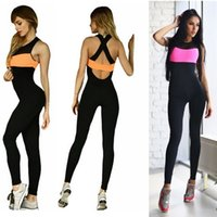 Wholesale Elasticity Jumpsuits - 2 Colors Elasticity Running Overalls for Women Fitness 2016 Sport Jumpsuit Rompers Skinny Bodysuit Fashion Black Bandage Slim Jumpsuit