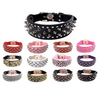 Wholesale Size Retractable Dog - 5cm Width Large Dog Cat Metal Nail Collar Pet Retractable PU Leather Collars Fast Delivery Time Size XS S M L