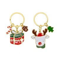 Wholesale Theme Ring - Christmas Theme Key Chains Colorful Enamel Epoxy Reindeer Christmas Gift Tree Candy Cane Charms Key Chains Key Rings For Women