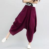 Wholesale Linen Pants Big Legged - 2016 Summer new style Plus-size Women pant Cotton and linen Ethnic style Haren & Ninth & Big pants