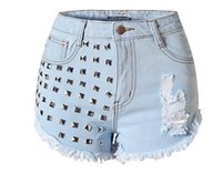 Wholesale Women S Torn Jeans - WSH018 west fashion new hot women studs rivets jeans denim tore up cutoff shorts