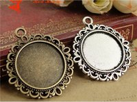 Wholesale Round Cabochon Settings Wholesale Bulk - A1156 30MM Fit 20MM Antique Bronze round cameo cabochon setting, vintage metal stamping blanks, retro bulk DIY pendant tray bezel base