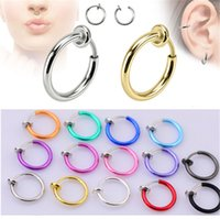 Wholesale Goth Hoop Earrings - 2017 New 1 PCS Clip on Boby Nose Lip Ear Fake Piercing Rings Stud Punk Goth False Hoop Earrings Septum Factory Wholesale