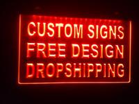 tienda de barra de luz al por mayor-diseñe su propia cerveza personalizada LED barra de señal de luz de neón abierta Dropshipping tienda de artesanías decoración led