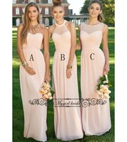 Wholesale Chic Long Dresses - 3 Styles A-line Peach Bridesmaid Dresses Floor Length Chiffon Simple and Chic Bridesmaid Gown Formal Evening Party Dresses