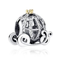Wholesale Pandora Pumpkin Bead - 100% genuine 925 silver beads pumpkin carriage charm DIY beaded necklaces for women Pandora Bracelet jewelry
