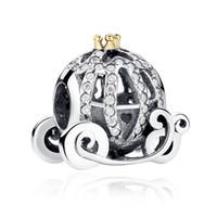 ingrosso braccialetto in rilievo di perle-100% genuino 925 perle d'argento zucca carrello fascino fai da te perline collane per le donne gioielli braccialetto Pandora