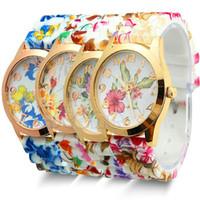 Wholesale Silicone Flower Watch - Luxury Watches Fashion Geneva Women Dress Watch Silicone Jelly Candy Rose Gold Flower Quartz Wristwatch Gift Watches