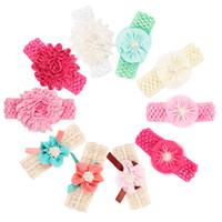 Wholesale Crochet Flower Hairbands - Baby Headbands Flowers Newborn Chiffon Pearl Flower hairbands Kids Infants Crochet 4.5cm Width children hair accessories Headdress KHA279