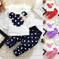 Wholesale Korean Style For Autumn - Korean Clothes Sets for Baby Girls Outfit Ruffle with Bow Cute Kids Clothes Dot Print Girls 2 Pieces Suits Long Sleeve Tops+Long Pants