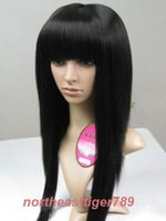 100% tout neuf de haute qualité de la mode Photo full lace wigsFashion Long Black Fluffy droite Neat Lady Perruque cheveux de Bangs femmes