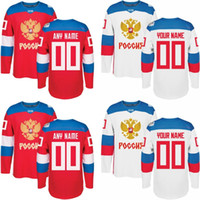 Wholesale Russia Hockey - Men's 2016 Custom Hockey Jersey ANY NAME AND NUMBER Russia Hockey Red World Cup of Hockey M-3XL