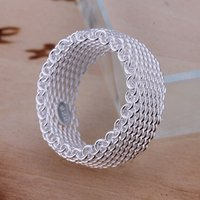 925 Sterling Silver Plated Flexible Wire Mesh Band Anillos Occident Pop Simple Fashion Unisex Pareja Anillos Joyería Tamaño 5-10 Envío gratis
