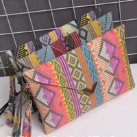 Wholesale Nations Style Bags - Women Nation style geometrical pattern Envelope Clutch Canvas Handbag Purse Tote Ladies Shoulder Bag 3 Patterns to Choose
