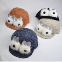 Wholesale Plush Baby Ball - Baby Bonnet Hats Wholesale Kid Boy Girl Baseball Cap Cute Bunny Ear Winter Cartoon Plush Animal Hat