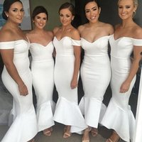 Wholesale Mermaid Bridesmaid Dresses For Wedding - 2017 Modest White Bridesmaid Dresses Long Off The Shoulder Wedding Guest Dress Mermaid Formal Weddings Party Gowns For Bridesmaids