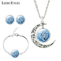 LIEBE ENGEL Mujeres Fine Romantic Silver Color Jewelry Sets Tree Imagen Glass Moon Pendant Necklace Stud Pendientes Pulsera Set