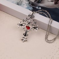 Wholesale fantasy jewelry - The Vampire Diaries Gothic Fantasy Cross Necklace Antique Silver Red Heart Cross pendant Fashion Jewelry for Women drop shipping