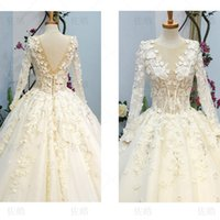 Wholesale Fall Flowers Photos - Wedding Dress Elegant Champange Lllusion Scoop Neck Long Sleeves Lace Up Back Ball Gown Sweep Train Lace Tulle Flowers Beaded Dress