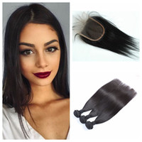 Wholesale cheap black hair dye - Cheap Lace Closure With Bundles Mongolian Straight Human Hair Weave 8-30inch Can Be Dyed Natural Black G-EASY Hair