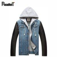 Wholesale Jeans Leather Sleeves - Wholesale- 2017 New Male PU leather sleeves patchwork denim jacket coat Men's jeans hip hop casual hoody jacket Men baseball jackets