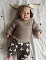 Wholesale Ears Hooded Outwear - kids Sweaters Toddler Cute Bunny Knit Pullover Cartoon Baby Pullover Clothing Autumn Winter Long Sleeve Hooded Rabbit Ears Outwear Clothes