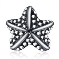 Wholesale Starfish Beads Bracelet - Wholesale New Arrival Beautiful Starfish Charm 925 Sterling Silver European Charms Beads Fit DIY Snake Chain Bracelets Bangle Jewelry