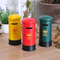 Wholesale British Money - Mailbox Piggy Bank Retro Metal Tin Plate Saving Box British London Money Boxes Factory Direct Sale 5 1ok B R