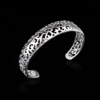 Vintage 925 Silver Plated Bangle Charm Oco Metal Pulseiras Mulheres Ladies Bracelet Womens Bangles Cheap Jewelry Moda Jewellry Presentes