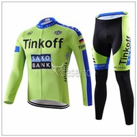 Wholesale 2015 NEW Tinkoff saxo bank Cycling Jerseys Green color Autumn Quick Dry long sleeves Cycling jerseys top quality none bib pants bicycle wear