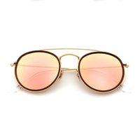 Wholesale Round Package - Highest Quality Round Style Sunglasses Alloy PU frame Mirrored glass lens 51mm for Men women double Bridge Retro Eyewear with package 3647