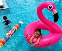 Wholesale 12 Swim - 50 inch 1.25M Giant Swan Inflatable Flamingo Ride-On Pool Toy Float inflatable swan pools Swim Ring Holiday Water Fun Toys for adults