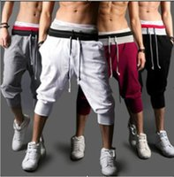 Wholesale Crop Harem - Summer Fashion 4 Colors S-XXL Casual Loose Mens Sports Capri Cropped Short Pants Sweatpants Jogger Trousers Beach Pants