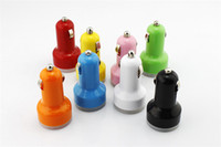 Wholesale Promotional Mini Usb - Cheap Wholesale Colorful Dual USB Car Charger 1000MA for cell phone Promotional customized mini Universal USB Car Charger with LED light