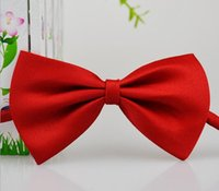 Wholesale solid kid bowties for sale - Group buy Children Neckties Polyester bow Ties Silk Tie Candy Color School necktie Cravat Bowties Kids Wedding Bow neckies