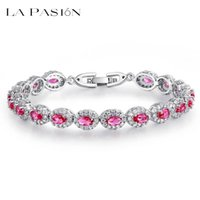 Wholesale Emerald Cut Ruby - LA PASION Brand White Gold Plated Oval cut Ruby Dark Blue  Emerald Stone Women Wedding Bracelets