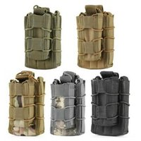 Wholesale Hiking Magazines - MOLLE Tactical Open Top Double Decker Single Rifle Pistol Mag Pouch Magazine Bag Outdoor Camping Hiking Waist Bag CCA7347 50pcs