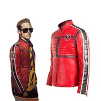 Wholesale Customized Leather Jackets - Movie Cos My Chemical Romance Kobra Kid Gerard Way Cosplay Costume Soft Leather Theme Party Coat Jacket Red Customize