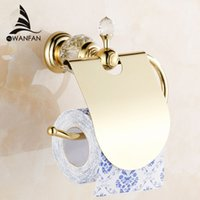 Wholesale Crystal Tissue Box - Luxury crystal brass gold paper box roll holder toilet gold paper holder tissue box Bathroom Accessories bath hardware HK-40