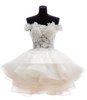 Wholesale Cocktial Dresses - Mini Homecoming dress Breaktaking Lace Appliquse off shoulder organza part dress 2016 prom cocktial Dresses Z270